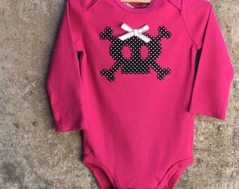 Girls, Pirate Princess Skull with Hair Bow Baby Bodysuit - Fun Costume Piece - You Choose Color - Fun Baby Shower Gift, Photo Shoot Outfit