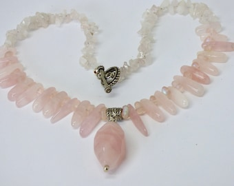 Rose Quartz Necklace, Chunky Pale Pink Pendant, Spike Necklace, Rose Quartz Jewelry, Pastel Pink Jewelry, Blush Jewelry, Mother's Day Gift