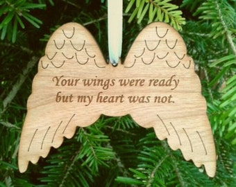 Memorial ANGEL Wings Remembrance Wood Christmas Tree Decoration In Memory Ornament, Loss, Bereavement Gift