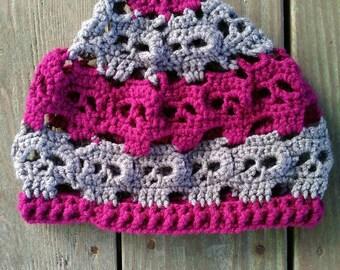 Skull beanie adult hat boysenberry pewter, skull winter hat, skull beanie, ready to ship