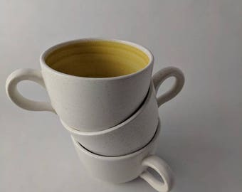 Modern Tea Cups / Mugs with Yellow Accent