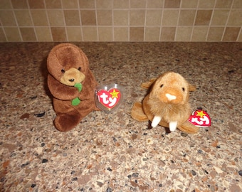 RARE!  Retired Ty Beanie Babies Seaweed the Otter and Paul the Walrus MWMT
