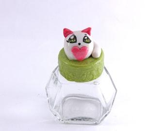Cat glass jar