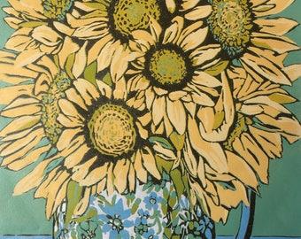 Sunflowers in Chintz, handmade linocut