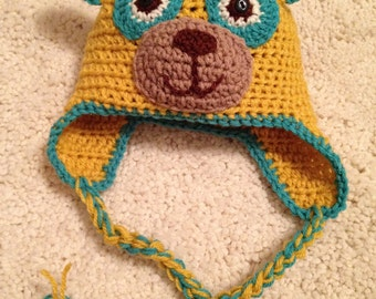 Crochet Special Agent Oso Inspired Earflap Hat, Newborn photo prop