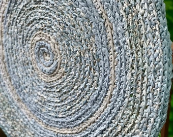 Round Rag Rug 3 Feet Shades of Gray and Beige Round Rug Recycled Textiles Yarn Ready to Ship