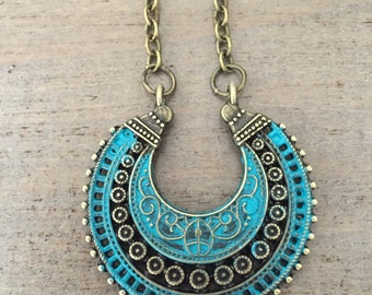 Boho Necklace, Bohemian Jewelry, Hand Painted, Gypsy, Tribal Necklace