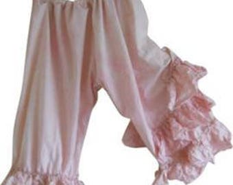 Pink Funky Pants Cotton trousers bloomers plus size OSFM Shabby Chic Gypsy Prairie Boho romantic layering frilly made to order RitaNoTiara