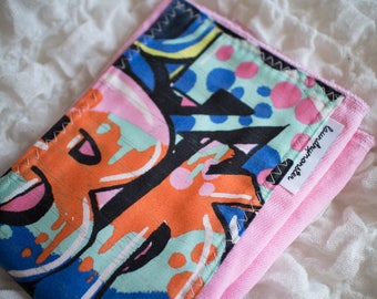 Baby Burp cloth - pink graffiti street art hand dyed burp cloth