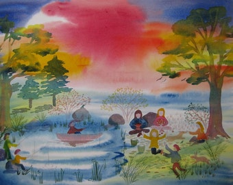 Children Playing and Fishing/Waldorf inspired vibrant watercolors