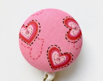 Red Hearts Badge Reel - Valentines Day Badge - Cardiac Nurse Badge Reel - Nurse Gift -  Retractable ID Reel - Name Badge - Fabric Badge Reel