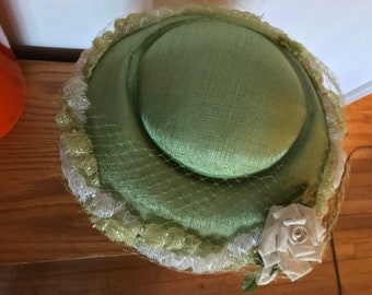 Vintage Hat Pancake Hat Tilt Hat Bright Green Textured Fabric with Frilly White and Green Trim Rose and Veil Detail