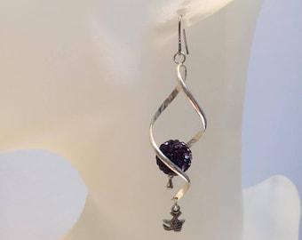 Spiral Rod earrings original purple shamballa