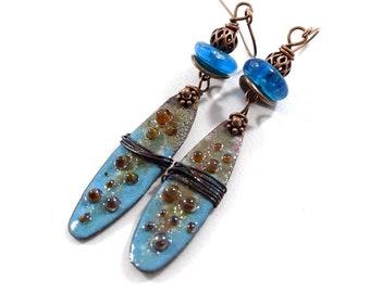 Blue Industrial Enameled Copper Earrings, Blue and Red, Boho  Earrings, Dotted Earrings, Industrial Earrings, Long Earrings, E055
