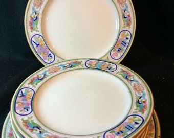 MINTON, England, 3 Dinner Plates with 5 Luncheon Plates