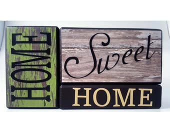 Home Sweet Home in Rustic Green and White Wood Block Set