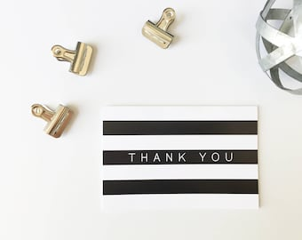 Thank You Cards, Minimalist Thank You Cards, Printed Cards, Thank You Notes, Wedding Thank You, Black and White Stripes, PHYSICAL PRINT