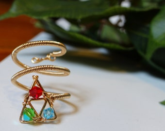 The L.O.Z.® Inspired Intricate Ring with Triforce and Spiritual Stones