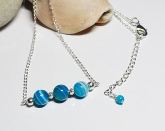 Blue Banded Agate Necklace - Blue Gemstone Necklace - Mothers' Day Gift