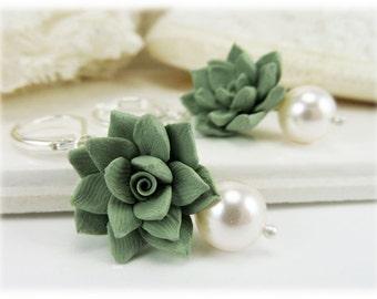 Pale Succulent Pearl Earrings - Silver Gold or Antique Brass Succulent Pearl Jewelry, Succulent Wedding Earrings
