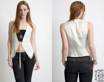 vintage 70s vest vintage 1970s off-white boho bohemian vest with lace edging/hemline