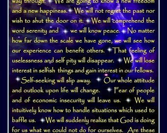 AA Promises Magnet, Gift, Alcoholics Anonymous, AA Recovery, Desiderata Magnet, Serenity Prayer, morning this is God, Prayer of St Francis