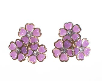 Purple Lucite Flower Earrings with Rhinestones
