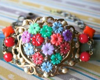 Vintage Flower Cuff Bracelet - Lilia
