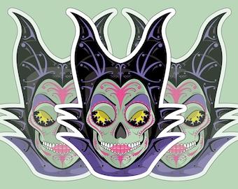 Maleficent Sugar Skull 3x4 Vinyl Sticker