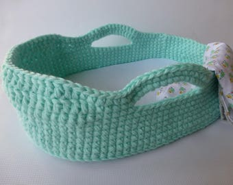 Crocheted Doll Moses Basket and Blanket, Mint Green/Gloria Floral