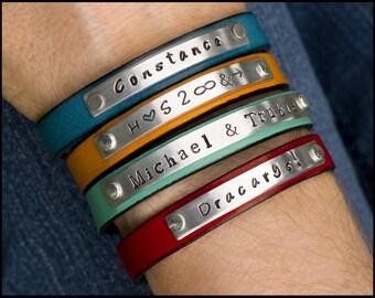 Personalized Leather Bracelet, Women's Leather Bracelet, Name Bracelet, Girlfriend Gift, BFF Gift, Inspirational Words, Custom Cuff Bracelet
