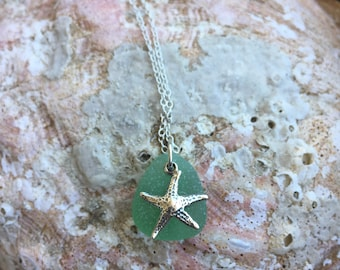 Genuine Green Sea Glass Necklace with Starfish Charm