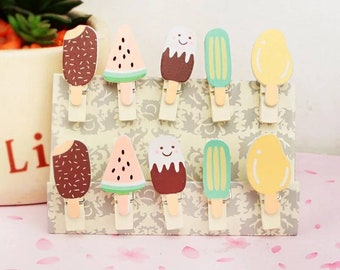 Summer Ice Cream Pegs 10 piece with hemp string Decoration Photo Garland