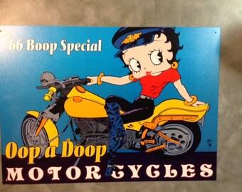 Vintage Betty Boop Opp aDoop Motorcycles sign