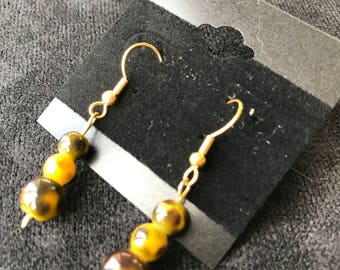Three Yellow Spotted (Leopard) Sphere Earrings