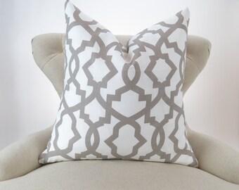 Ecru Pillow Cover -MANY SIZES- Neutral Throw Pillow, Euro Sham, Cushion, Taupe White Decor, Lattice Pattern, Sheffield Ecru Premier Prints