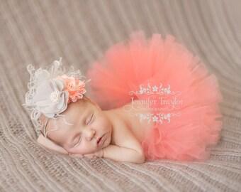 Newborn Tutu and Headband Set... Coral Tutu... Baby Tutu...Photography Prop...Tutu...Ivory and Coral Prop Set...Newborn Tutu