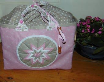 Great knitting basket pattern fabric