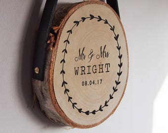 Mr and Mrs wedding gift, personalised wood slice