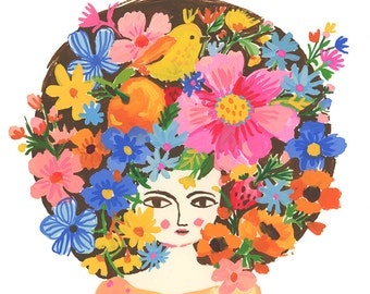 Girl with flowers in her hair portrait