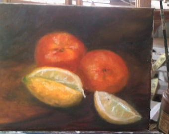Original Oil Painting Still Life Tangerines and Lemons