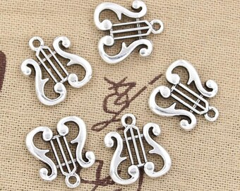 Harp charms, Musical instrument charms, 15 pcs, Tibetan silver charms, Metal charms, Silver harp charms, Small harp charms, 17 x 16 mm, A290