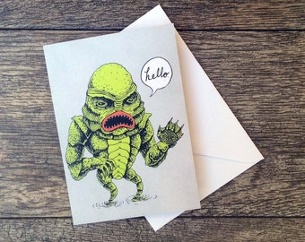 Creature from the Black Lagoon Says Hello Card