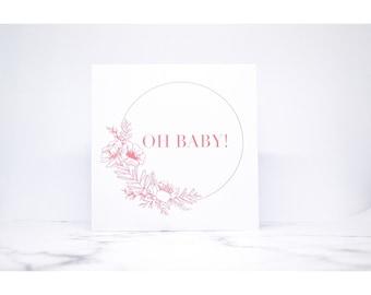 New baby card, botanical, handmade, hand illustrated, calligraphy