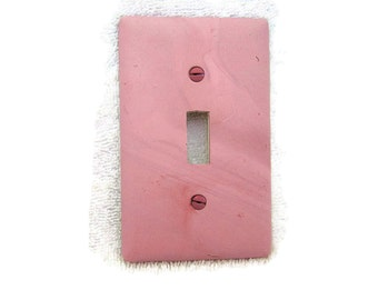 Light Switch Cover, Toggle Switchplate, Single Switch Plate with Pink/Mauve Marbled Design