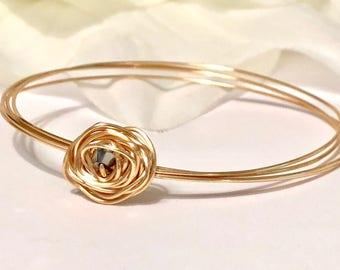 Gold plated rose bangle