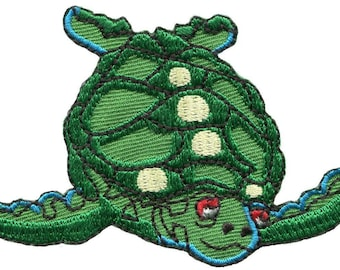Sea turtle embroidered applique iron-on patch