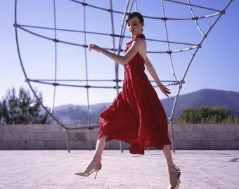 red silk halter dress ,by StellaDottir