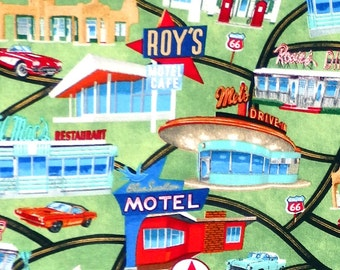Timeless Treasures Route 66 Roadside Attractions - American Diner Route 66 Gas Pump Drive In Fabric - Per 1/2 metre - 100% Cotton