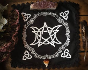 Triple Moon Pentagram Altar Cloth